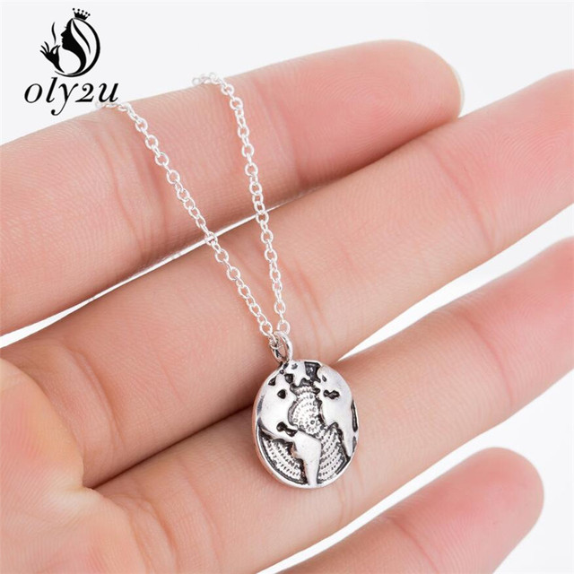 Oly2u wholesale globe world map necklace high quality chain necklace oly2u wholesale globe world map necklace high quality chain necklace personality graduation gift earth jewelry dropshipping gumiabroncs Gallery