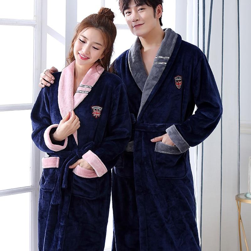 Winter Warm Lovers Sleepwear Women Men Long Robe Thick Flannel Kimono Bathrobe Casual Nightdress Soft Homewear Plus Size 3XL