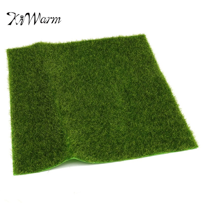 KiWarm New Artificial Moss Grass Sheet Square Simulation Mat Model Scenery Craft Railway Diorama Floor Home Garden Decoration