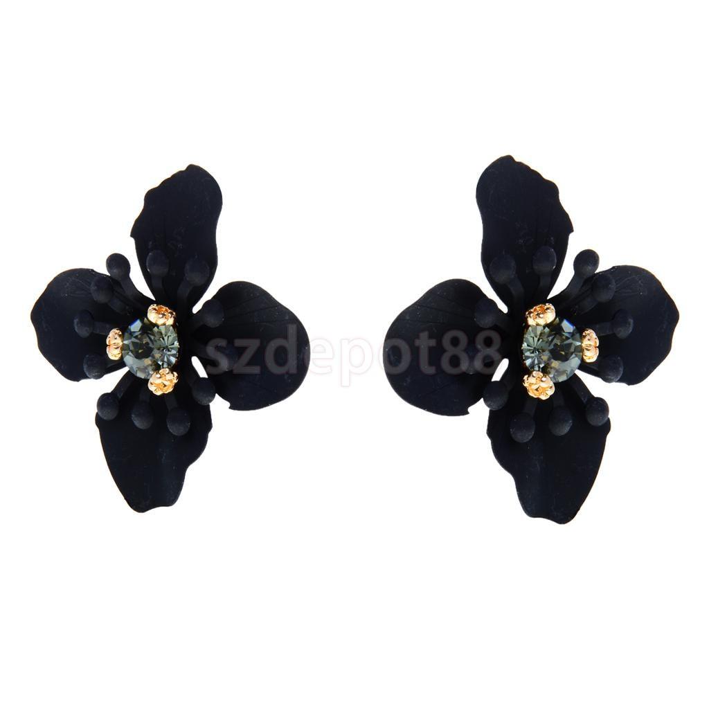 Black Flower Stud Earrings For Women Crystal Small Beads S Metal Flowers Earring Ear Jewelry In From Accessories On
