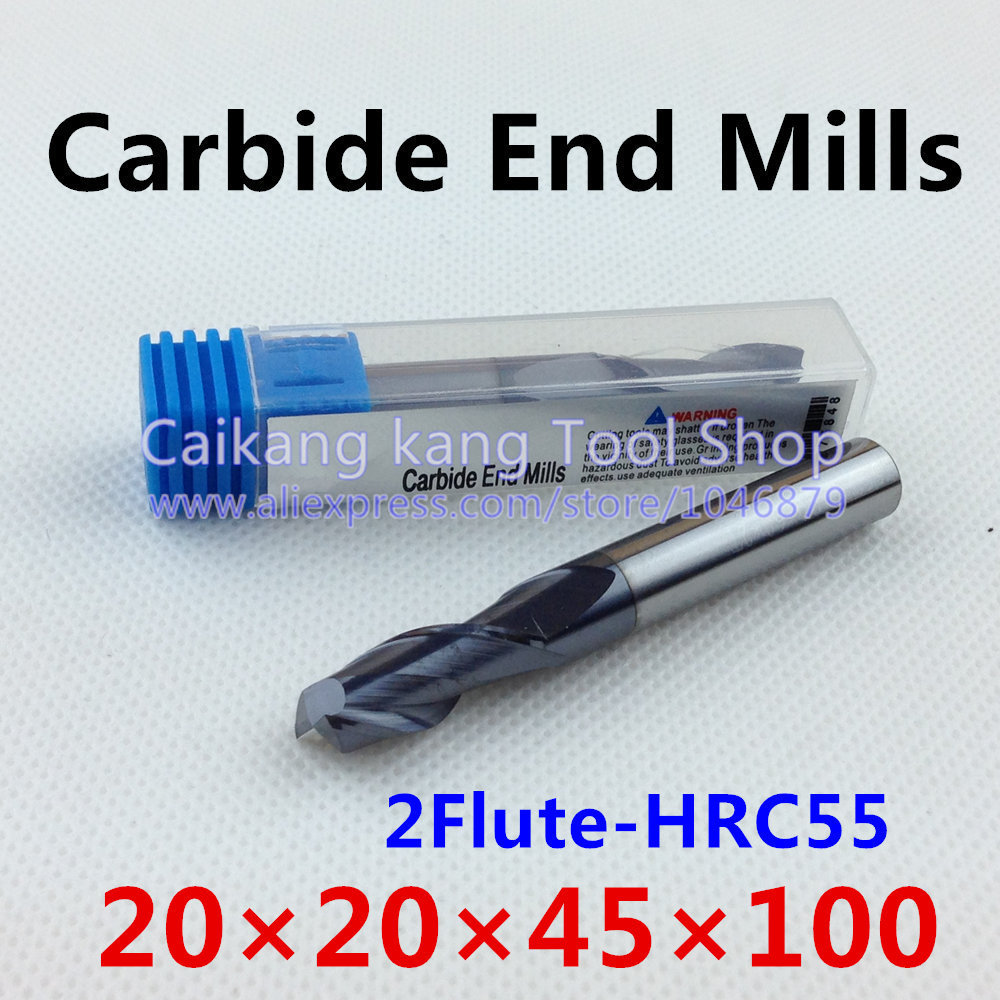 New 2 Flute Head:20mm Tungsten steel cutter CNC milling Carbide End mills Highest cutting hardness: 55HRC 2F 20*20*45*100mm new 2 flute head 18mm tungsten steel cutter cnc milling carbide end mills highest cutting hardness 55hrc 2f 18 18 40 100mm