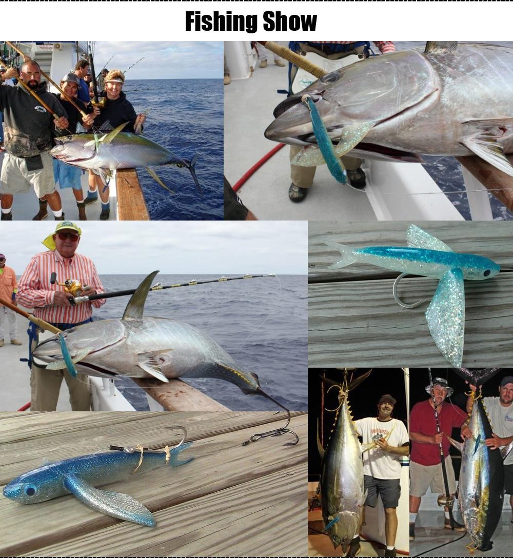 Spinpoler Deep Sea Fishing 140g Soft Plastic Fishing Lures 23cm 9inch Jig Hook Big Magic Soft Flying Fish Soft Fishing Lure  (1)