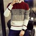 2016 Nueva Marca de Moda de Los Hombres Patchwork de Manga Larga Jerseys Equipo de Punto de lana Delgada Ocasional Hecho Punto suéter Plus 5xl