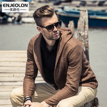 Ying Jue Lun autumn and winter fashion brand Mens knit hooded cardigan sweater coat British shawl
