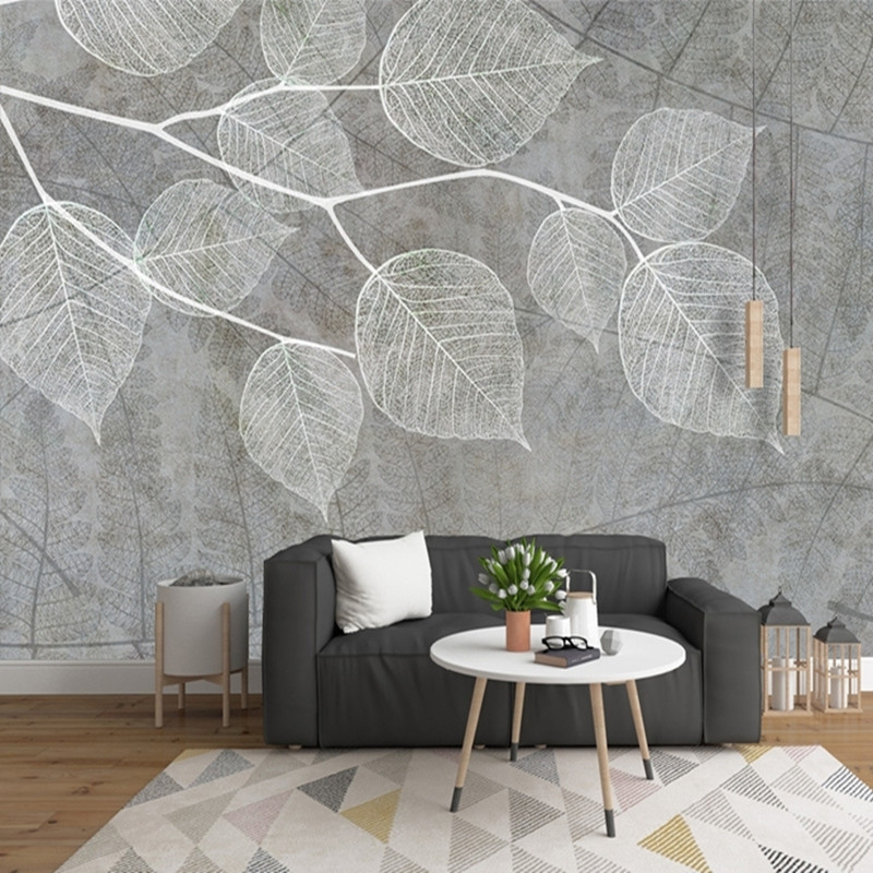living grey walls parati wallpapers carta carte paper decoration leaf nordic moderna moderno nuove tendenze interior murals papers bedroom mural