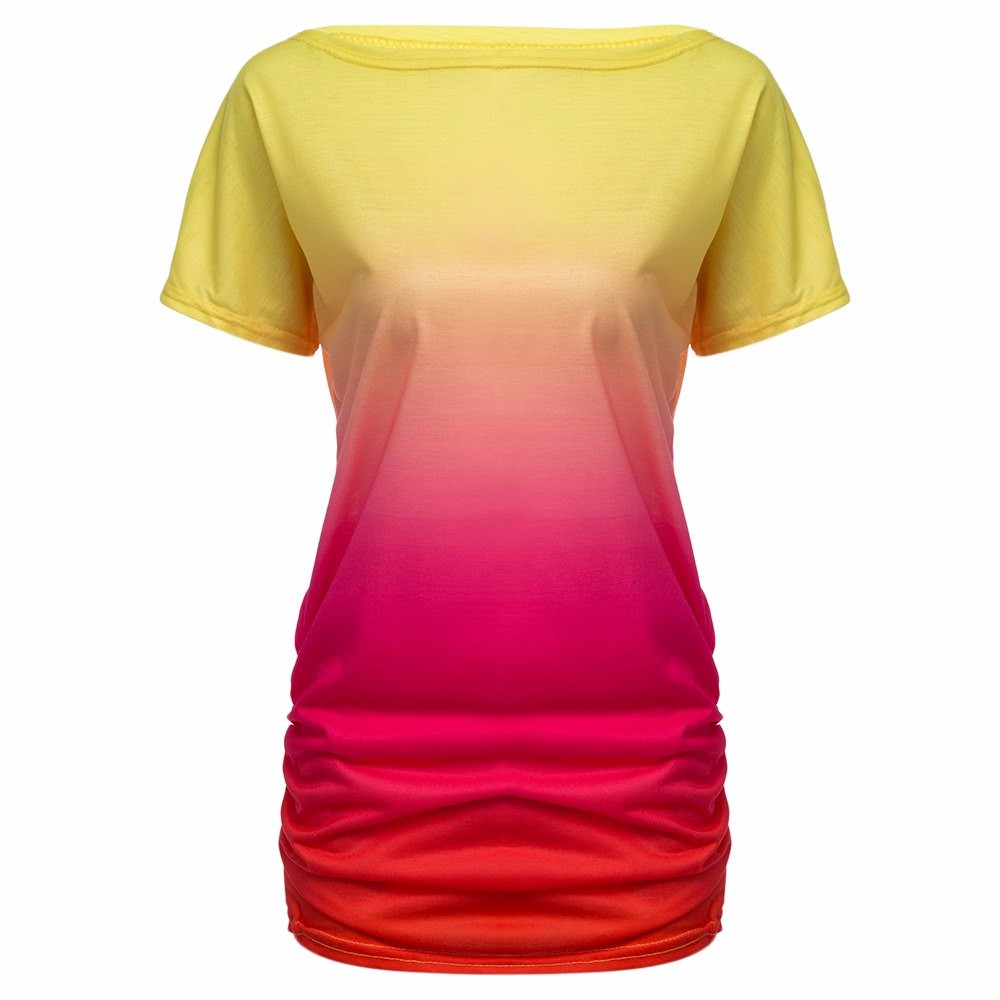 HTB1TQaRKVXXXXaNXFXXq6xXFXXXW - Women Tops Dye Print Tee Shirts Short Sleeve Gradient Color Casual