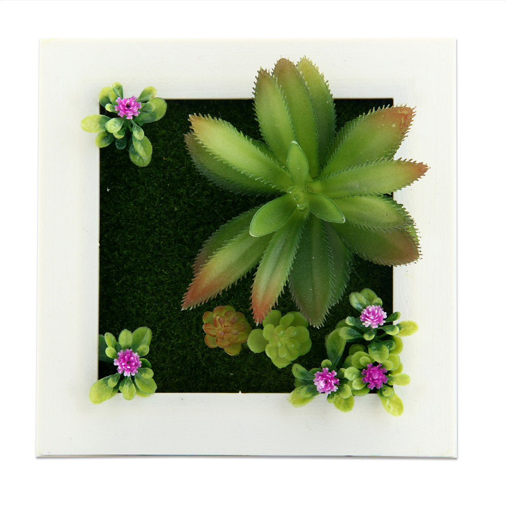 New 3d imitation artificial flowers frame shape wall for Artificial plants for decoration