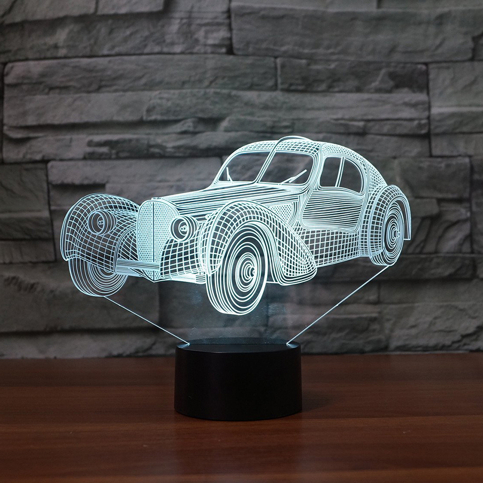 7 Colors Led Home Decor 3D Sports Car Molding Table Lamp Atmosphere Lamp Boy Bedside Lighting Fixture Holiday Gifts Night Lights