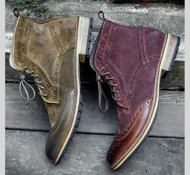 Carved brogue shoes men lace up genuine leather martin boots patchwork suede lace up ankle boots high top low heel casual shoes