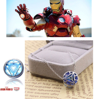 Iron Man Necklace Pendant Arc Reactor Round 925 Silver Pendant Necklaces Jewelry for Men Women Cosplay Jewellery Christmas Gift