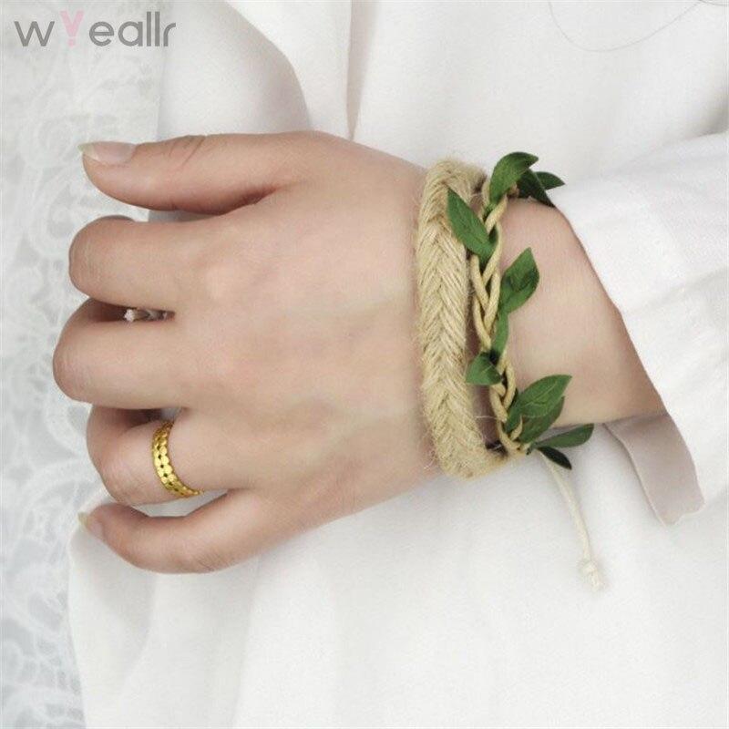 WYEAIIR DIY Handmade Mori Girl Hand Woven Cotton Green Leaves Bracelet For Women Charm String Chain New Year Gift WB138