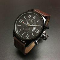 Fashion Business Men Wristwatch Shock Resistant Leather Band Three Colors Quartz Luxury Men Watch 2016