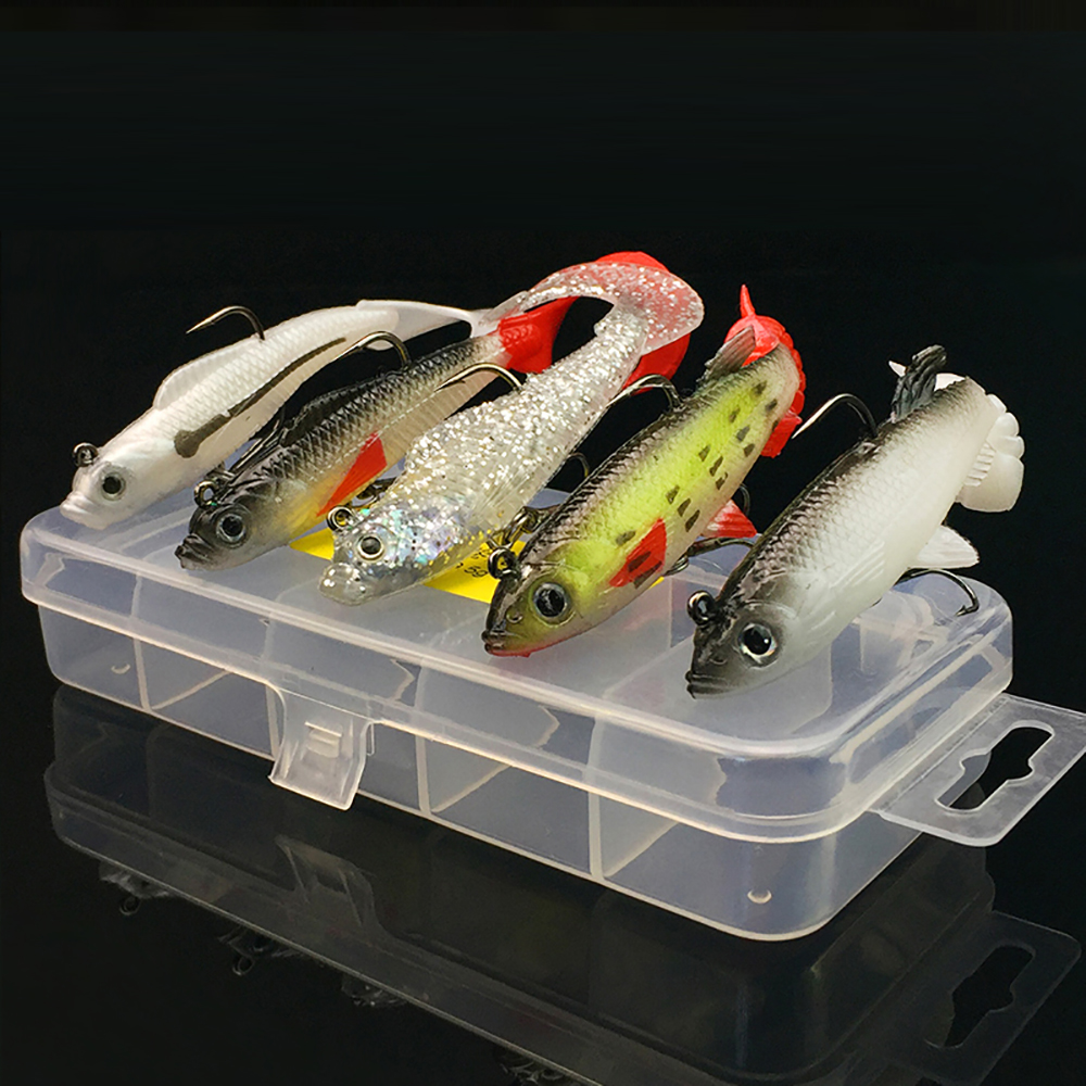 High quality lifelike 5pcs set long tail lead fish fishing lures tackle soft bait bass baits Grubs Treble Hooks case Storage box preschool programs for the disadvantaged