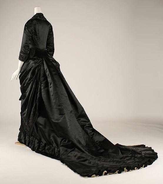 Dîner Soie Victorienne Historique Antique Agitation Robe 1877 Français Noir Commode 8nPwOX0k