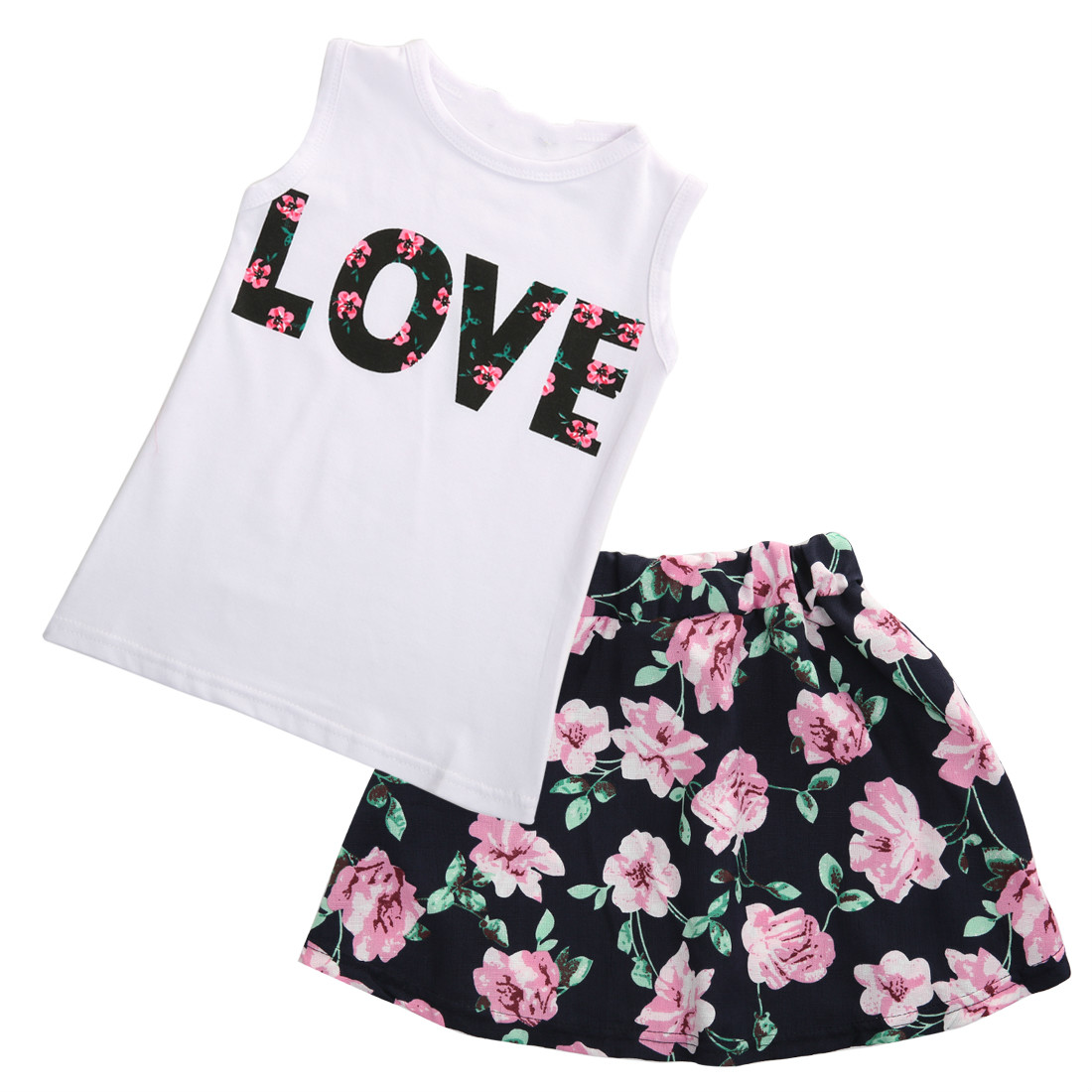 2pcs Summer Toddler Kids Baby Girls Sleeveless T-shirt Tank Tops and Floral Print Skirt Sweet Girls Kids Clothes Outfits Set