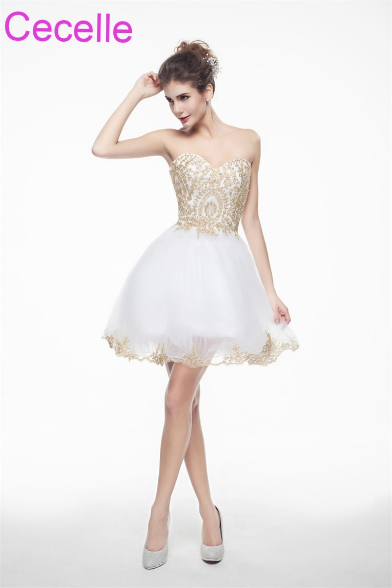 White With Gold Cute Short Cocktail Dresses 2018 Sweetheart Girls Semi Formal Short Prom Party Dresses Robe De Cocktail Sale