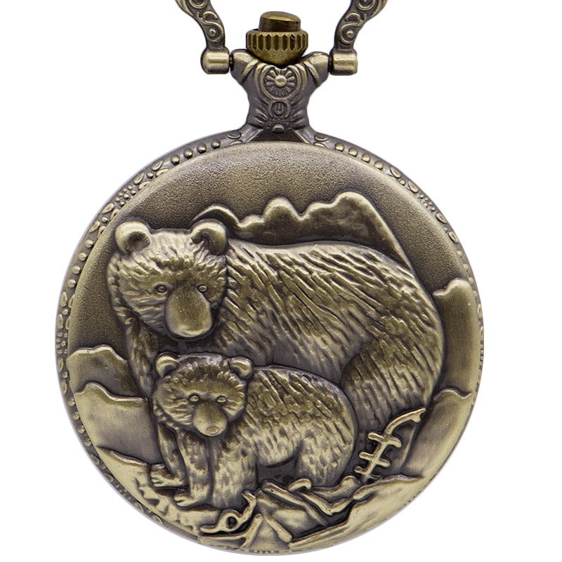 New Fashion Vintage Double Bear Carving Quartz Pocket Watch Chain Fob Pocket Watches Pendant Mens Gift  CF1057