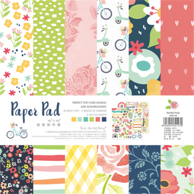 10inch colorful happy life scrapbook paper Origami Background Pape DIY flower border deco tag card making happy planner craft