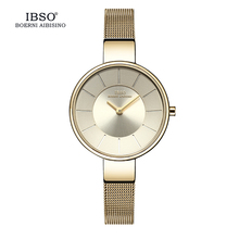 IBSO Brand Watch Women 6.5 mm Ultra Thin Stainless Steel Leather Band Clock Woman Relogio Montre Femme Women's Watches #2249 ibso new brand 7 mm ultra thin women watches 2018 gray genuine leather strap ladies watch luxury quartz watch women montre femme
