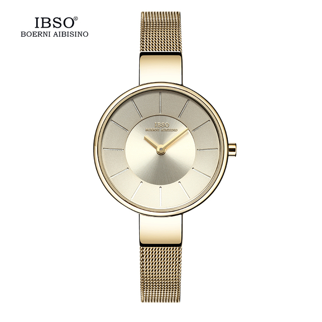 IBSO Top Brand 6.5MM Ultra Thin Stainless Steel Leather Band Women Bracelet Watc