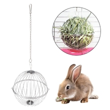 Toy Round Sphere Stainless Steel Feed Hanging Hay Ball Hamster for Rat Rabbit Pet