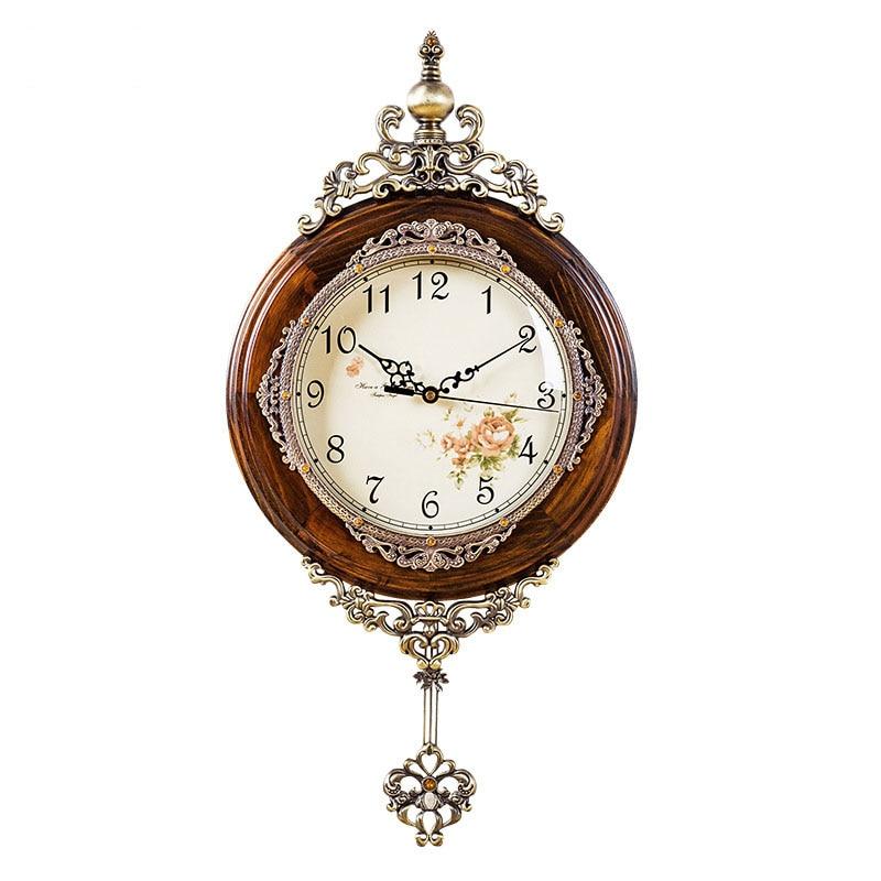 Купить с кэшбэком Classical Wooden Wall Clocks European Antique Pendulum Decor Clock of Silent Quartz Movement Art Edge Wall Pendulum Clock