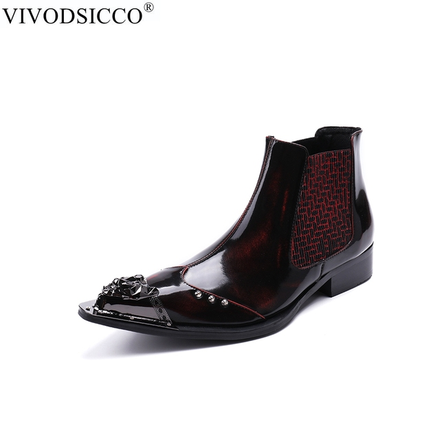 VIVODSICCO New Style Men Motorcycle Cowboy Ankle Boots Rivets Genuine  Leather Pointed Toe Chelsea Boots Men Formal Dress Shoes e090cfc4e69a