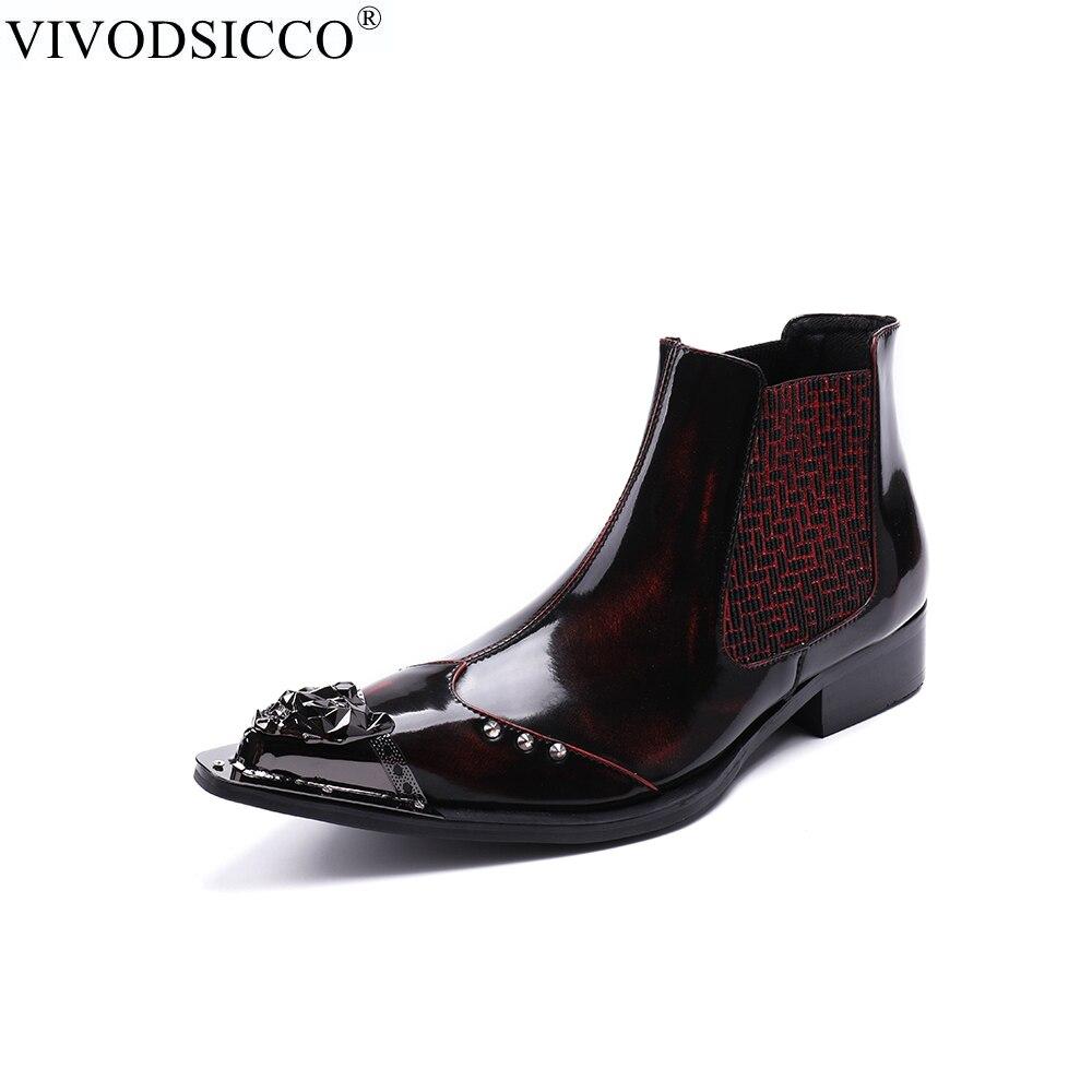 f37b601c17 Estilo Chelsea Genuino Botines Toe Cuero Zapatos Nuevo Rojo Cowboy Hombres  Formales Los Punta Botas Remaches Motocicleta De ...