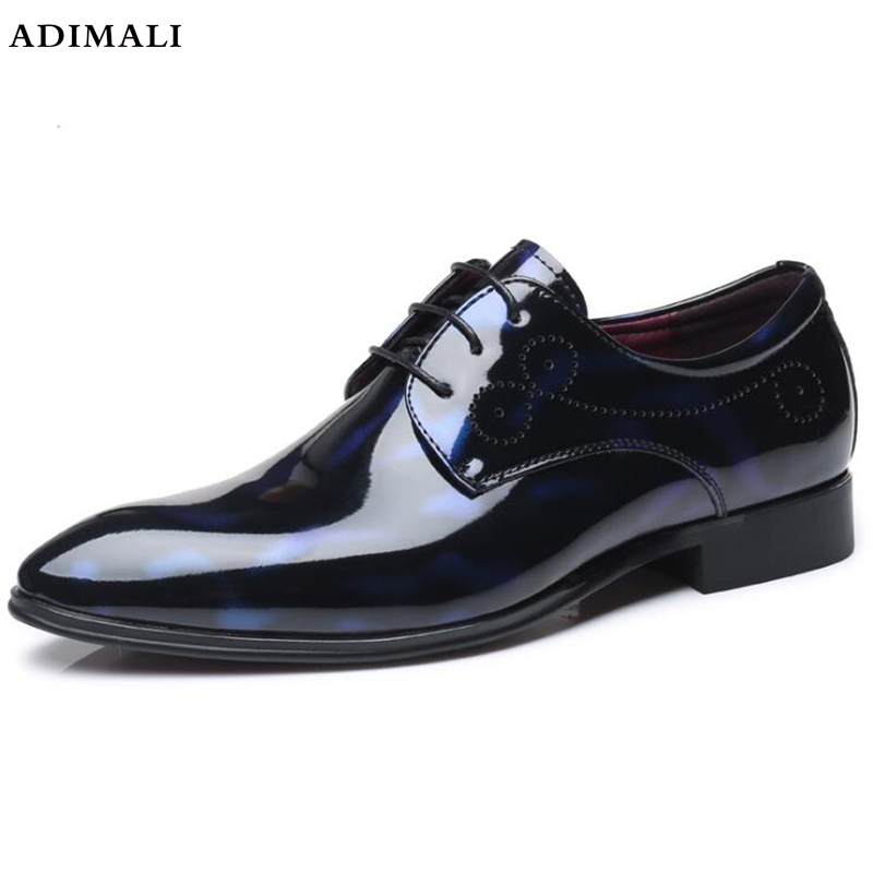Men Pointed Toe Dress Shoes 2018 Casual Leather Oxfords Shoes Men Business Crocodile Shoes Lace Up Designer Luxury Man's Flats okhotcn male pointed toe cow leather shoes daily plaid men casual business dress shoes oxfords men flat lace up sapato masculino