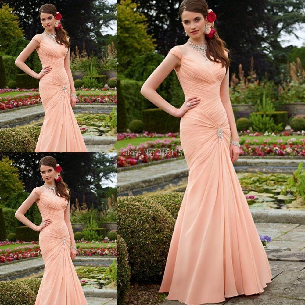Popular Peach Colored Bridesmaid Dresses-Buy Cheap Peach Colored ...