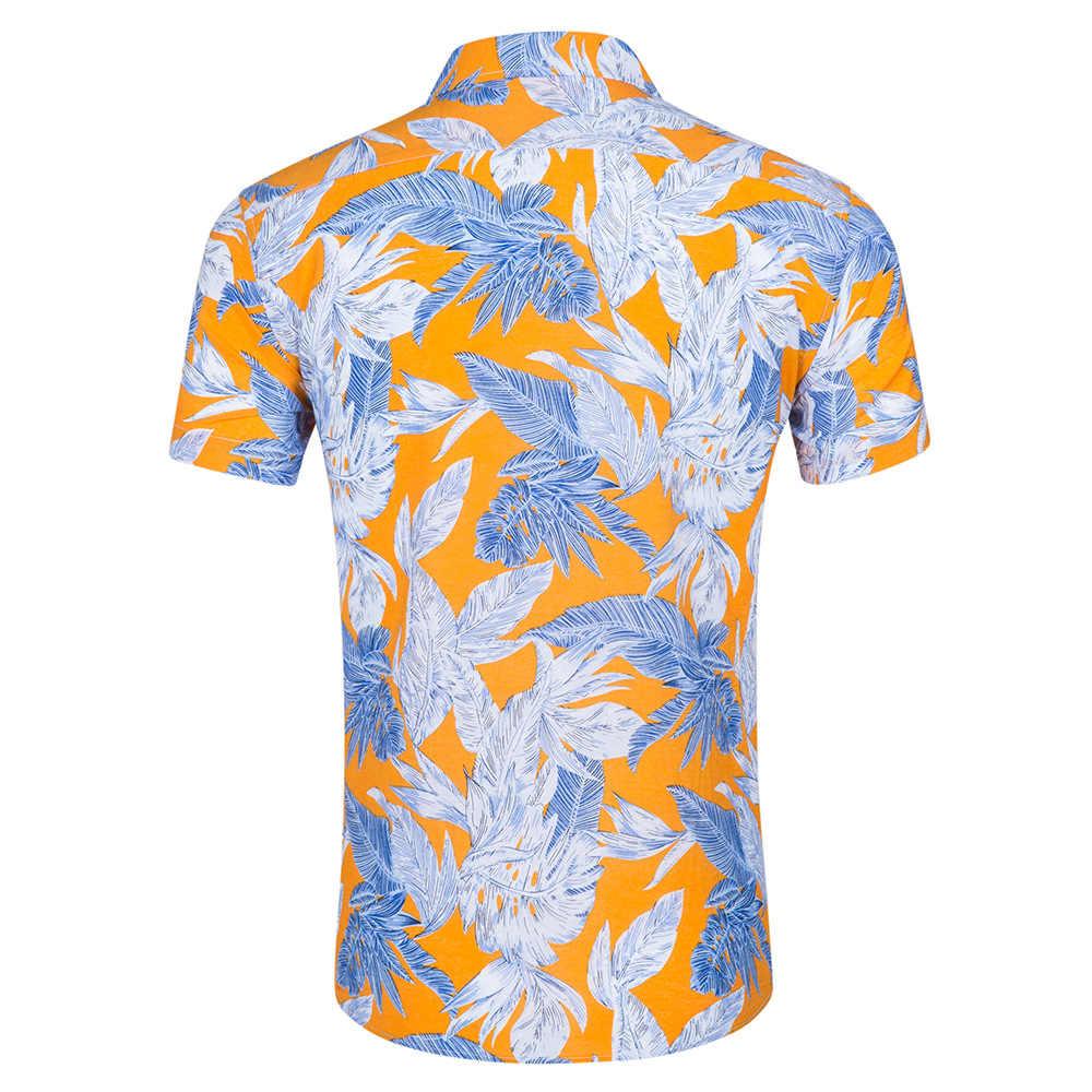 2018 г. модная гавайская рубашка с коротким рукавом мужские летние повседневные цветочные рубашки мужчины плюс размер рубашки Camisa социальной Masculina XXL