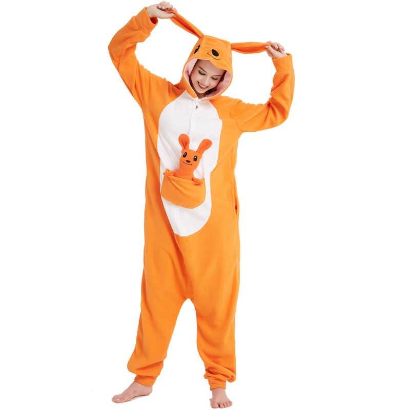 Оранжевый флис животных КЕНГУРУ Кигуруми для взрослая Пижама женский  сценический костюм Kawaii Onesie пижамы da8bb74810a5a