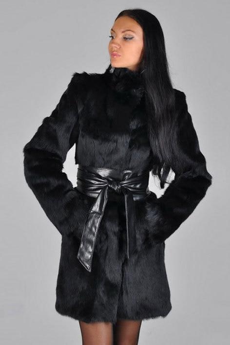 Manteau Épais Casaco Fourrure Grande Veste E138 Faux Chaud 2017 Ceintures Noir De Taille Black Pele Falso Nouveau Femmes D'hiver Col Longue Montant Ribbit HOHngYW