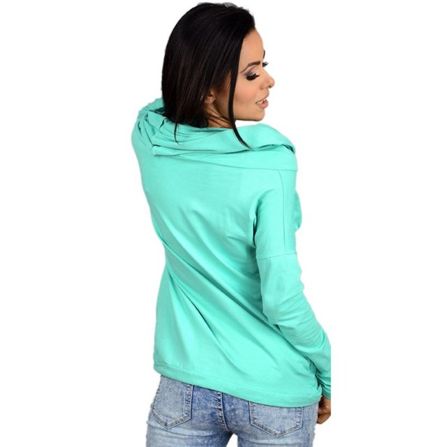 Ladies Light Weight Long Sleeve Casual Sweatshirt Hoodie