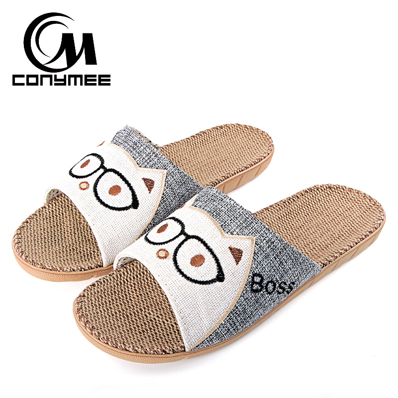 CONYMEE Flax Slippers Summer Men Shoes 2018 Fashion Zapatos Hombre Indoor Home Slipper Sandalias Beach Sandals Male Flip Flops цена