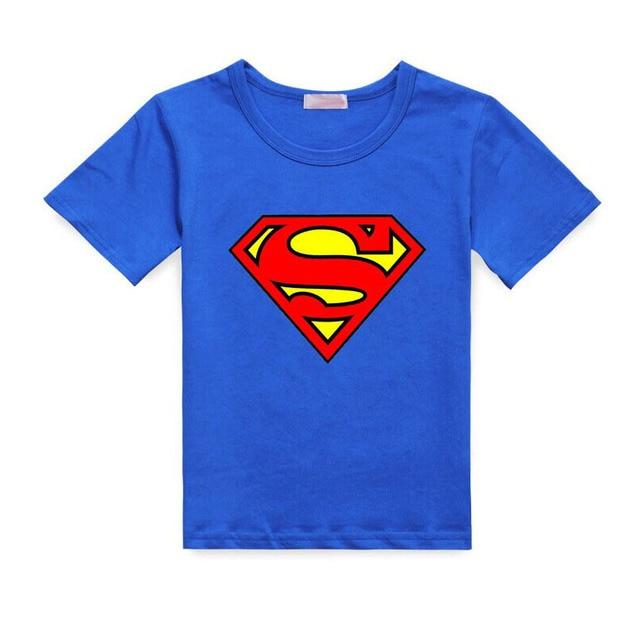 2017 Cartoon Printing Superman Short Sleeve T-Shirts Fashion Cotton Children Kids Baby Girls Boys T Shirts Tops Child Clothing