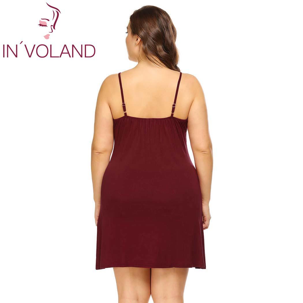 1fb8f9bd96 INVOLAND Women Sleepwear Dress Plus Size XL-5XL Sleeveless Sexy V-Neck  Lounge Nightgowns Sleepshirts Cami Dresses Vestidos