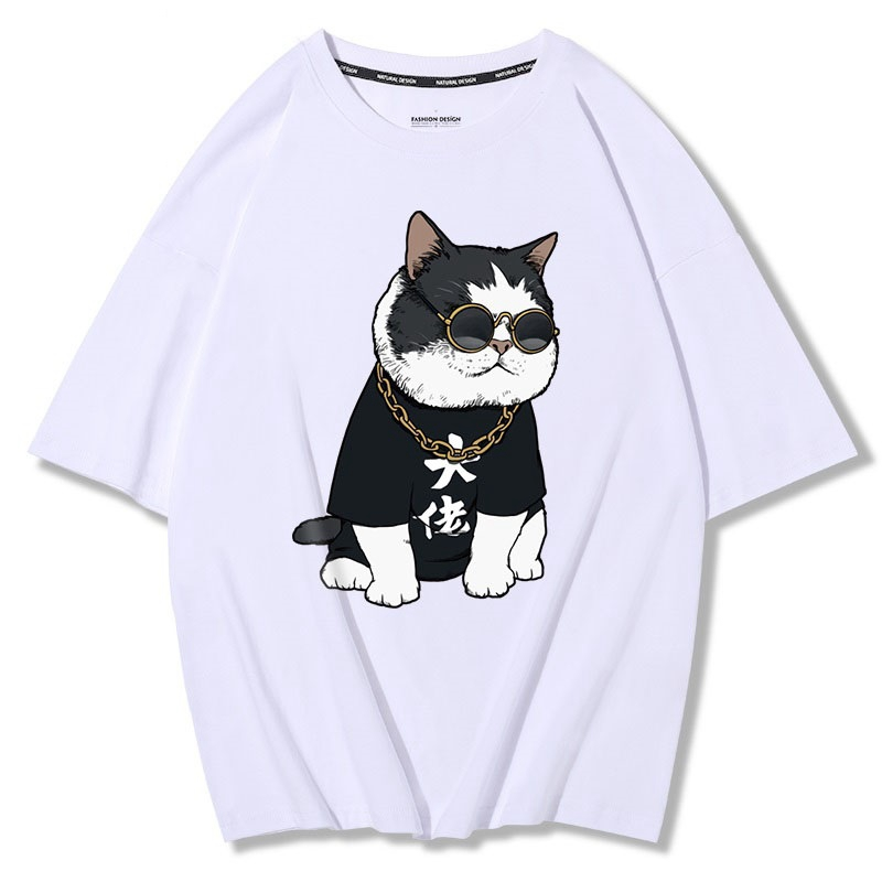 MFERLIER summer mens short sleeve cotton t-shirts print dog cat funny plus size big 4XL 5XL tees loose tShirt black Hip hop tops 2