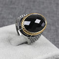 Fashion Male Personalized Creative Jewelry Gifts Items Tibetan Silver Plated Faceted Crystal Two Tones Vintage Rings for Men
