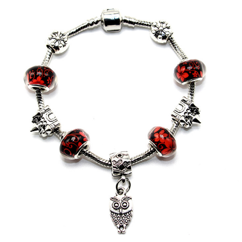 Castle Snowflake Charm Bracelets Silver Plated Owl Flower Bangle Beads Original Bracelet Women DIY Jewelry Fit Pulseras