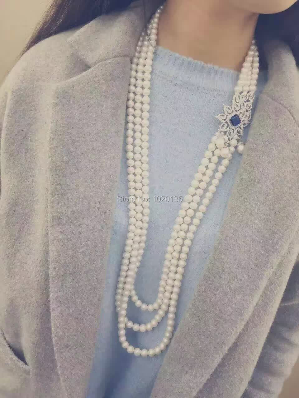 3rows freshwater pearl 7-8mm near round necklace 38-45inch  wholesale nature beads  FPPJ3rows freshwater pearl 7-8mm near round necklace 38-45inch  wholesale nature beads  FPPJ