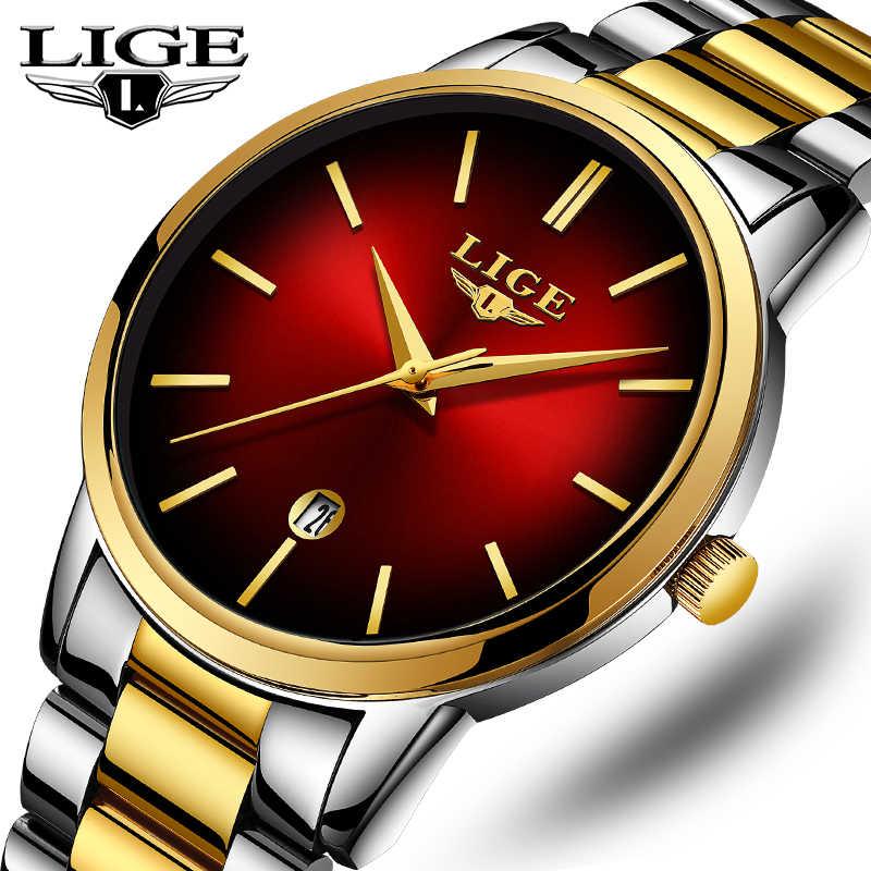 Mode femmes montre à Quartz dames LIGE haut marque de luxe femmes montre en acier inoxydable étanche fille robe horloge Relogio Feminino