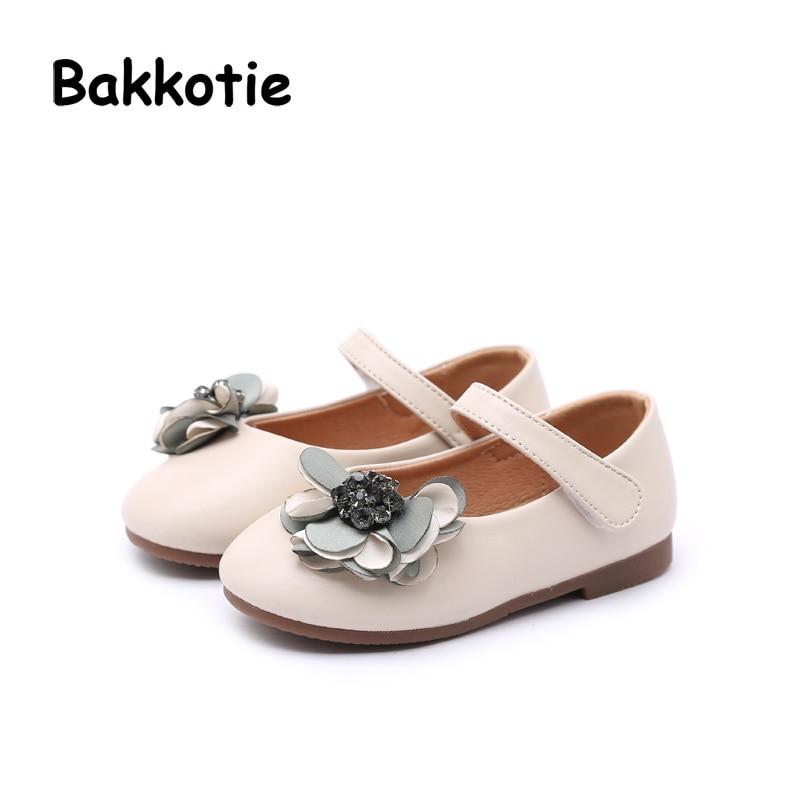 Bakkotie 2018 New Spring Fashion Mary Jane Flower Microfiber Rhinestone Loop Child Baby Princess Shoe Flat kid Brand Girl Soft