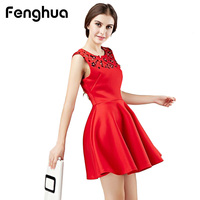 Fenghua Sexy Sleeveless Summer Dress For Women Party Dresses 2017 Vintage Elegant Plus Size Mini Sequins