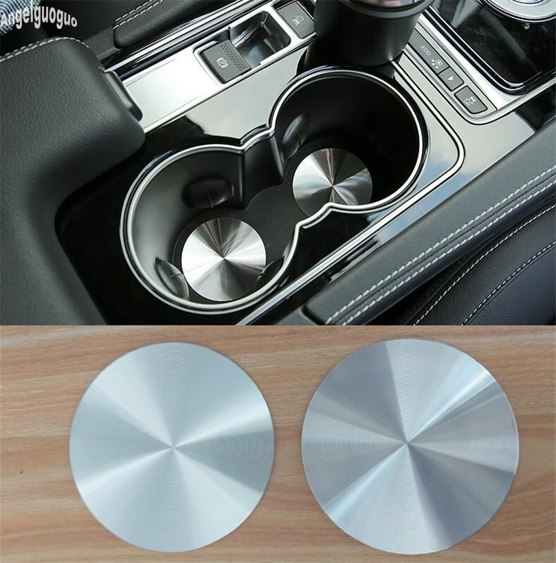 Angelguoguo 2 Pcs Metal Car Cup Holder Cover Mat Trim Decoration Sticker For Volvo S60 V60 XC60 C30 Accessories