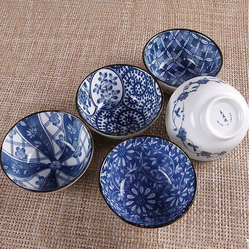 4.6/5.5 Inch Retro Blue And White Porcelain Tableware Japanese Ceramic Bowl Big Noodle Bowl Small Soup Rice Bowls Food Container Dinnerware