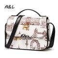 Moda bonito impressão mulheres Crossbody Bag senhoras pequeno ombro mensageiro saco marca Designer PU couro bolsa para meninas A0104