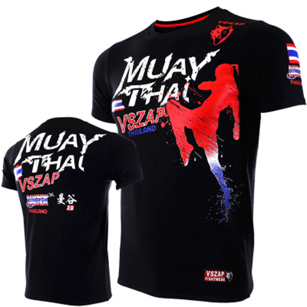 Boxing Smart 2018 Vszap Mma Jersey T-shirt Muay Thai Jiu Jitsu Boxing Shirts Fitness Male Fightwear Sports Gym O-neck Breathable T-shirt Mma To Win A High Admiration
