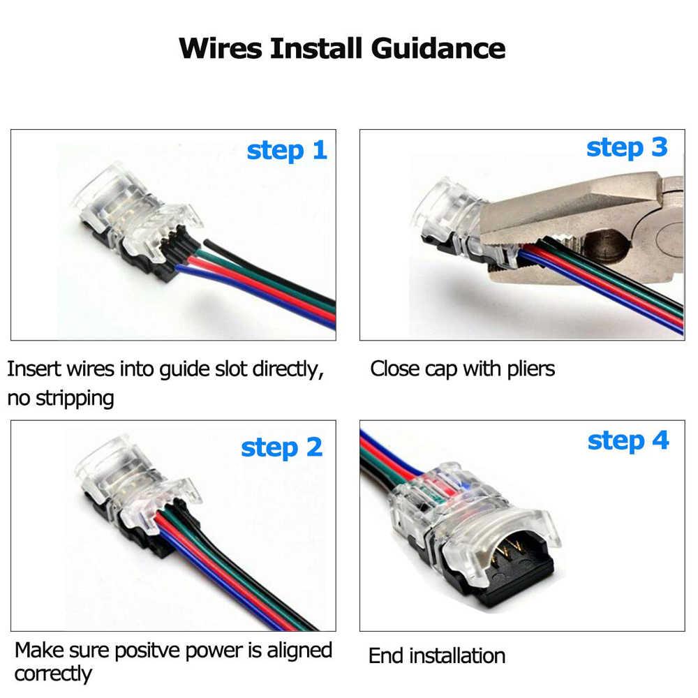 Taśmy LED światła złącze na zatrzask 5pin 4pin 2pin adapter pcb do pojedynczego 5050 3528 RGB dioda LED rgbw taśmy do drutu zacisk przyłączeniowy