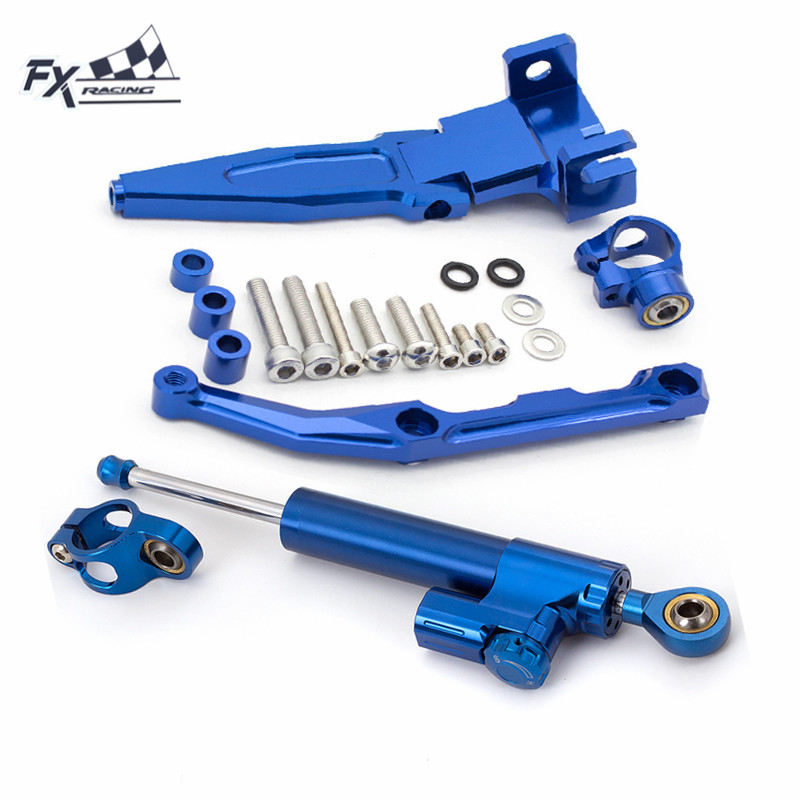 GZYF Racing Motorcycle CNC Steering Damper Stabilizer Buffer Control Bar with Mounting Bracket Kit Full Set Fit for Kawasaki Z900 2017-2018